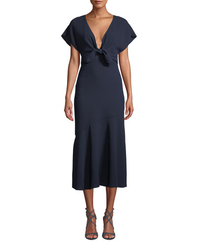 V-Neck Crepe Dress w/ Tie Front