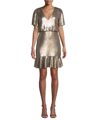 V-Neck Mini Dress w/ Sequins