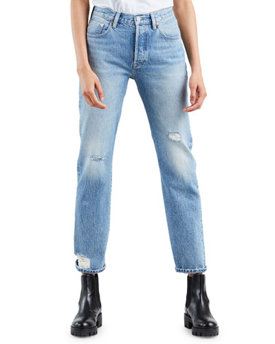 501 High-Rise Straight-Leg Cropped Jeans