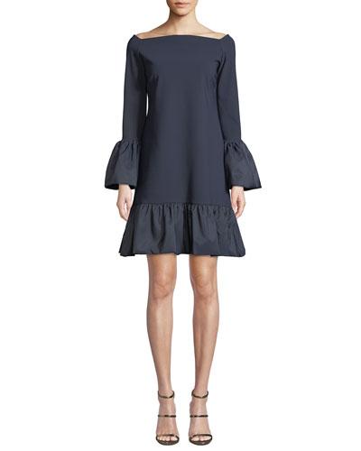 Maldina Bell-Sleeve Ruffle Dress