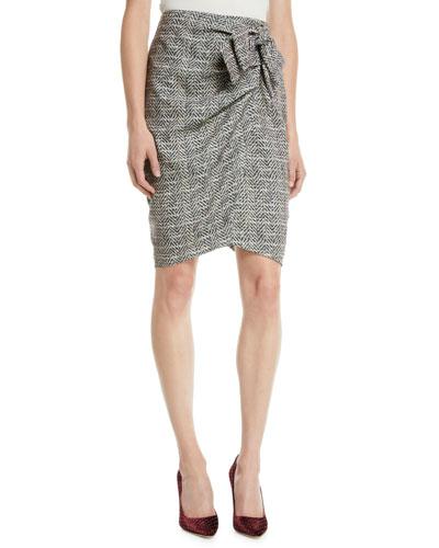 Herringbone Wrap Skirt  w/ Bow