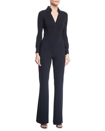 Yelena Pinstripe Collared Jumpsuit