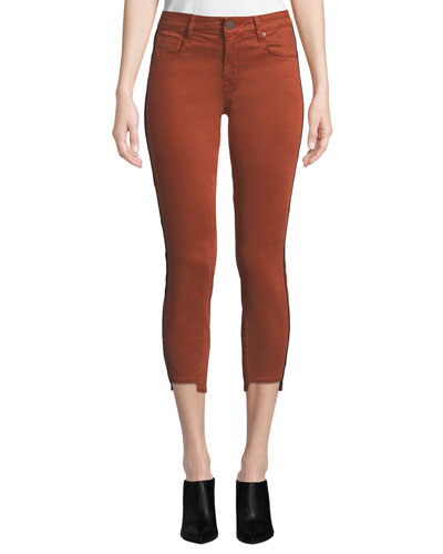 Twisted-Seam Skinny Cropped Pants w/ Step-Hem
