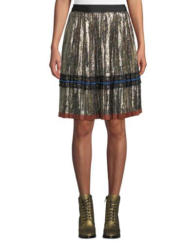 Daisy-Print Pleated Metallic Midi Skirt