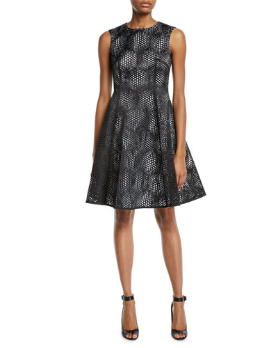 Laser-Cut Sleeveless Fit-&-Flare Cocktail Dress