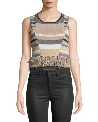 Rosetti Cropped Sleeveless Fringe Top