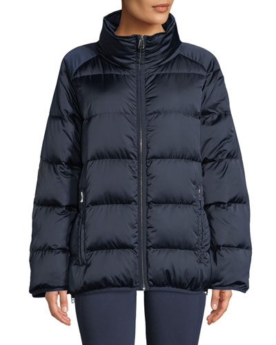 Satin Down Full-Zip Puffer Jacket