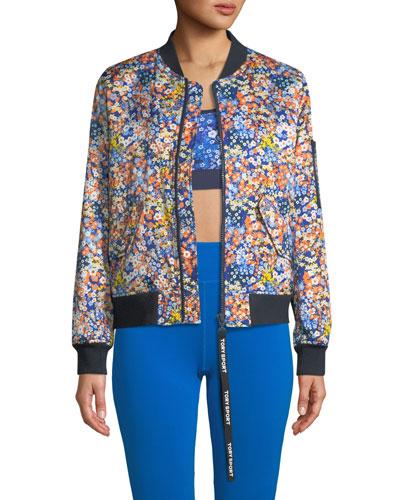 Satin Floral-Print Bomber Jacket