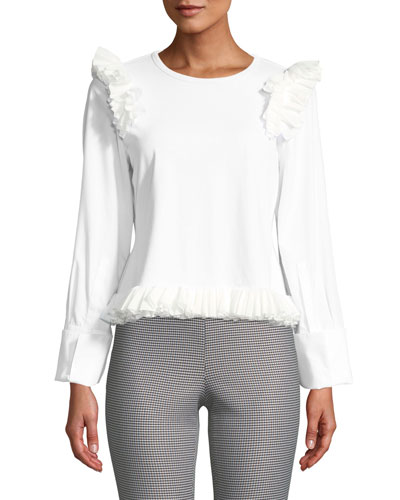 Long-Sleeve Ruffle Crewneck Cotton Top