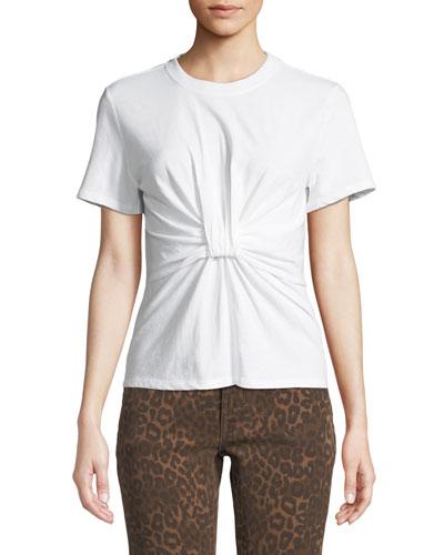 Twist-Front Short-Sleeve Jersey Tee