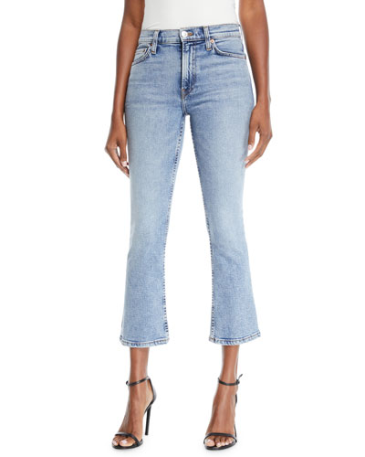 Mid-Rise Cropped Kick Flare Stretch Jeans