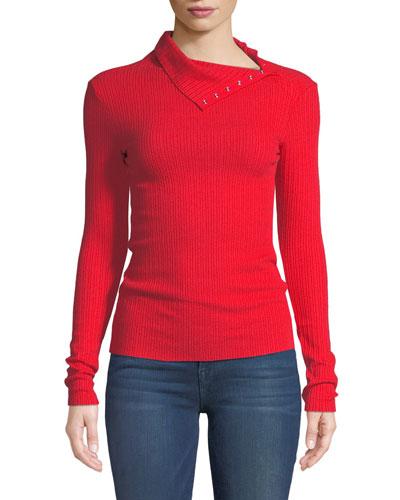 Ribbed Split-Collar Long-Sleeve Sweater