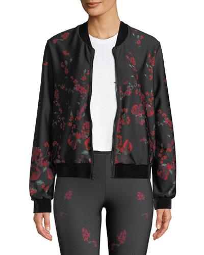 Stealth Floral Zip-Front Bomber Jacket