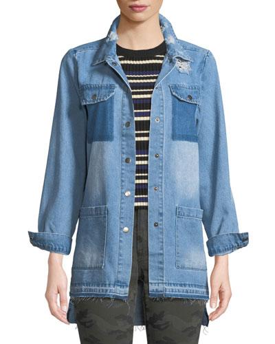 Distressed Snap-Front Denim Shirt