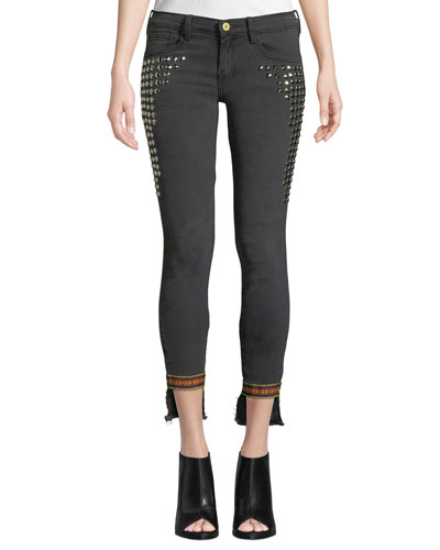 Studded Step-Hem Skinny Jeans with Trim