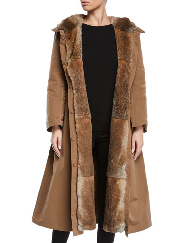 Here is the Cube Collection Urbanl Long Removable Fur Trench Coat