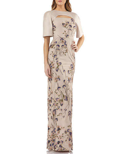 Cutout Mikado & Lace Gown w/ Sequin Embroidery