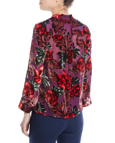 Eloise Mandarin-Collar Button-Front Floral-Burnout Blouse