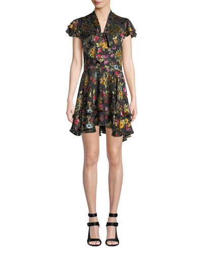 Moore Tie V-Neck Cap-Sleeve Layered Floral-Print Velvet Mini Dress