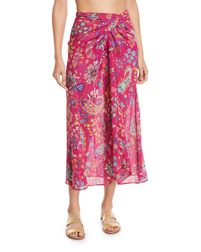 Printed Wrap Coverup Skirt