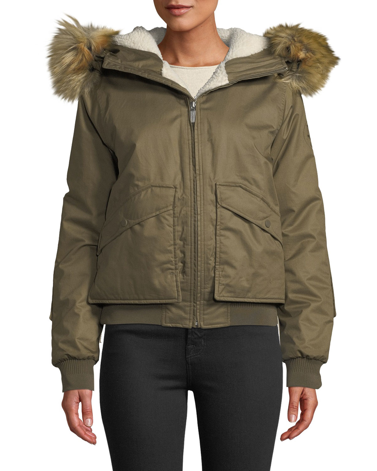 Hunter WATERPROOF INSULATED & FAUX-FUR HOODED BOMBER JACKET