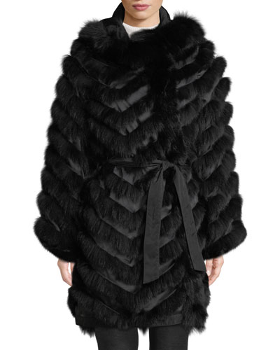 Reversible Silk & Fox Fur Chevron Jacket