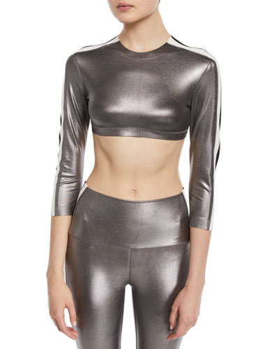 Metallic Side-Stripe 3/4-Sleeve Crop Top