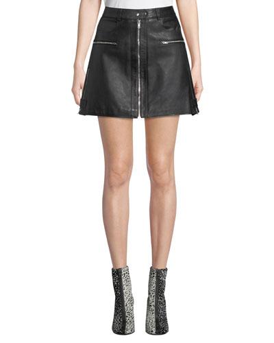 Leather Biker Mini Skirt