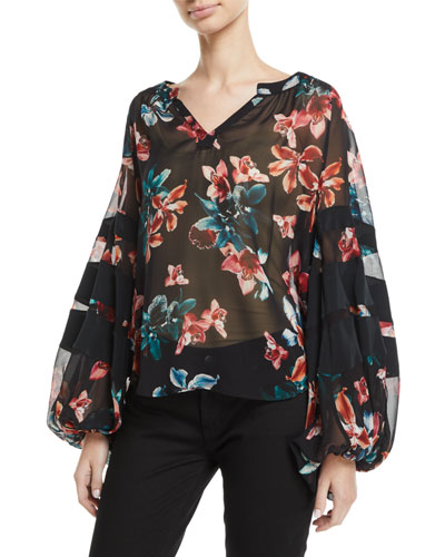 Paneled Floral Blouson-Sleeve Top