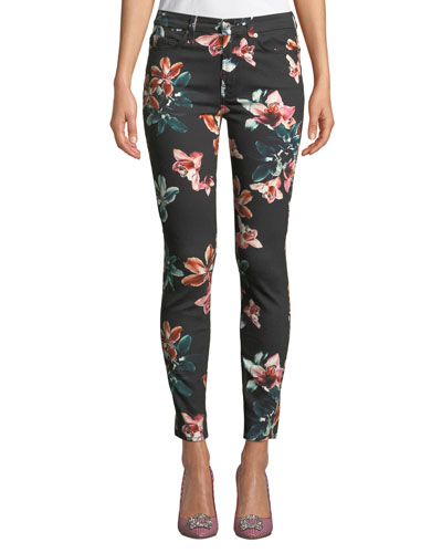 Tropical Floral-Print Ankle Skinny Jeans