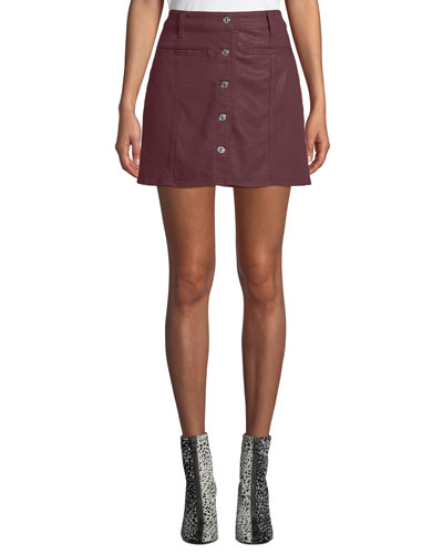 Button-Front Coated Twill Mini Skirt