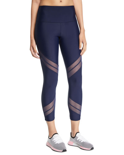 Sporty Mesh Cropped Performance Leggings