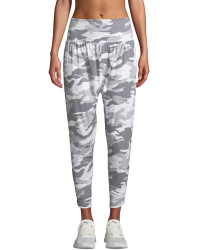 Camo-Print Activewear Harem Pants