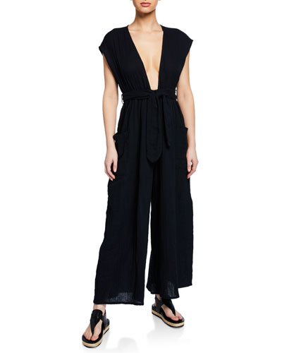 Plus Size Whitney Plunging Cap-Sleeve Wide-Leg Cotton Gauze Jumpsuit