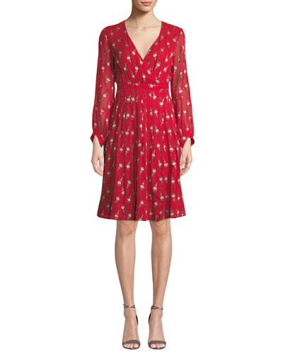 Memory Floral Long-Sleeve V-Neck Dress