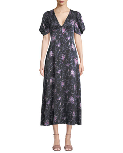 Delaney Floral Button-Front Silk Long Dress
