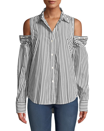 The Loretta Striped Button-Shoulder Top