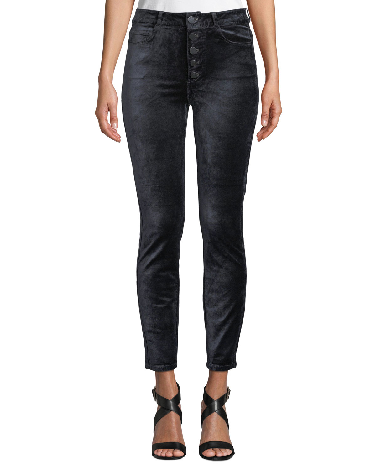 PAIGE HOXTON VELVET ANKLE SKINNY JEANS WITH BUTTON FLY