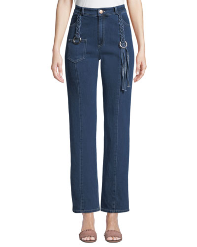Straight-Leg Ankle Jeans with Braided Details