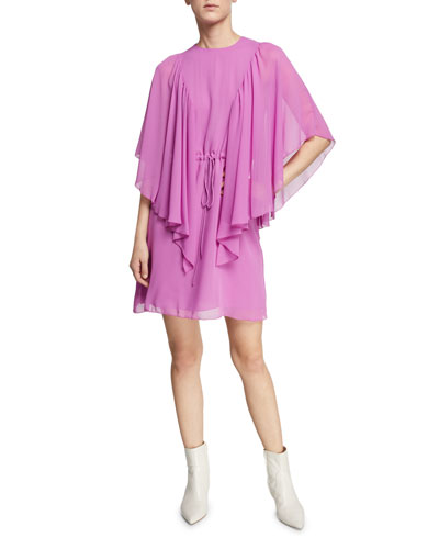 Ruffled Tie-Waist Cape-Sleeve Short Dress