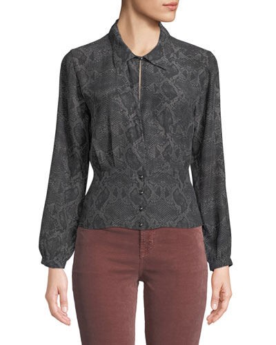Lindsey Snake-Print Silk Long-Sleeve Top