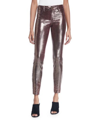 L8001 Mid-Rise Metallic Leather Leggings