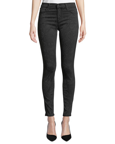 620 Mid-Rise Super Skinny Sateen Snake-Print Jeans