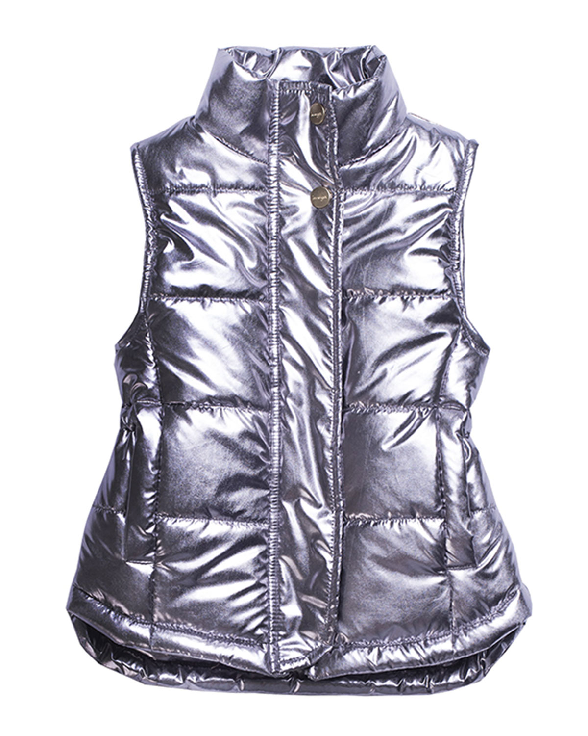 Metallic Quilted Puffer Vest, Size 4-6