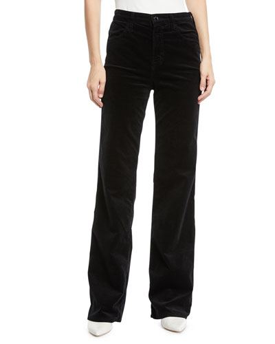 Joan Velvet High-Rise Wide-Leg Pants