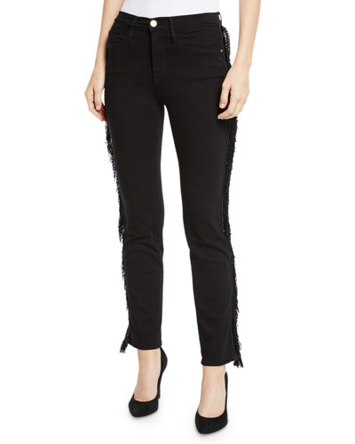 Le High Straight Ankle Jeans with Fringe