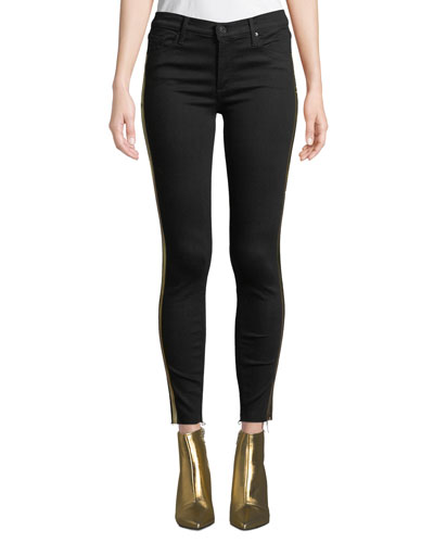 Noah Ankle Fray Skinny Jeans w/ Gold Racer Stripes
