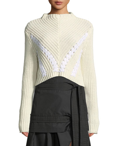 Drape-Neck Cropped Cotton Pullover Sweater