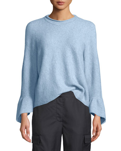 Pullover Sweater With Ruffle Cuffs