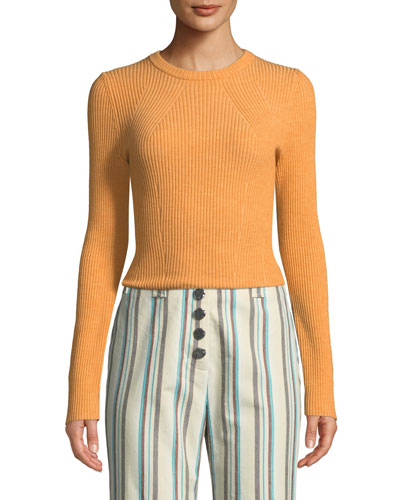 Stretch-Wool Ribbed Pullover Sweater